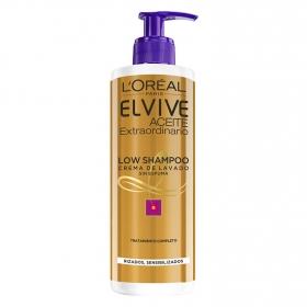 Crema de lavado Low Shampoo Aceite Extraordinario para cabellos rizados L'Oréal-Elvive 400 ml.