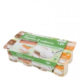 Yogur de coco y de macedonia Carrefour pack de 8 unidades de 125 g.