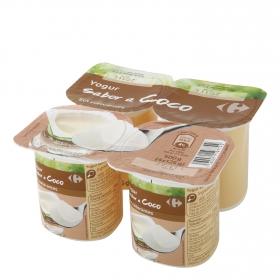 Yogur de coco Carrefour pack de 4 unidades de 125 g.
