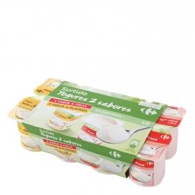 Yogur de fresa y de plátano Carrefour pack de 8 unidades de 125 g.