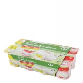 Yogur de fresa y de limón Carrefour pack de 8 unidades de 125 g.