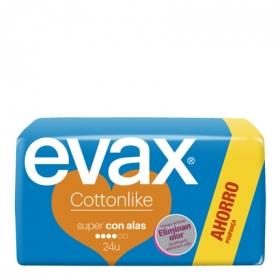 Compresas Cottonlike super con alas Evax 24 ud.