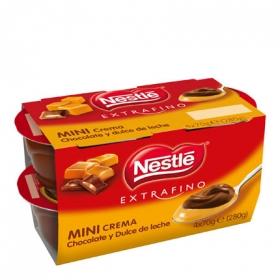 Mini crema de chocolate y dulce de leche
