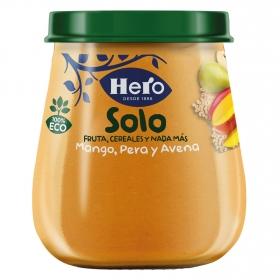 Tarrito de mango, pera y avena ecológico Hero Solo 120 g.