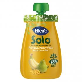 Preparado de plátano, pera y maíz ecológica Hero Solo bolsita de 100 g.