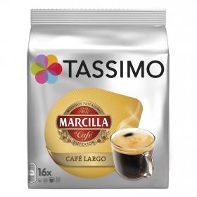 Café largo en cápsulas Marcilla Tassimo 16 unidades de 8,3 g.