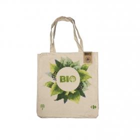Bolsa Bio Algodón CARREFOUR  Flores Verdes - Marrón