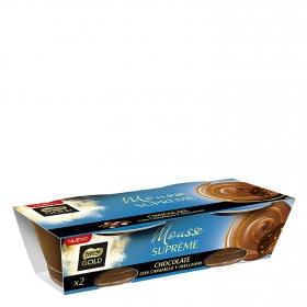 Mousse supreme de chocolate con caramelo y avellanas Nestlé-Gold pack de 2 unidades de 90 g.