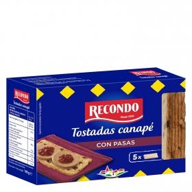 Tostadas cuadradas para canapés con pasas Recondo 100 g.