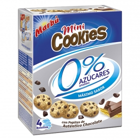 Galletas con pepitas de chocolate  0% azúcares Mini Cookies Marbú pack de 4 unidades de 30 g.
