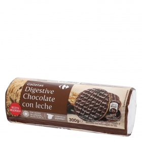 Galletas de chocolate con leche Digestive Carrefour 300 g.