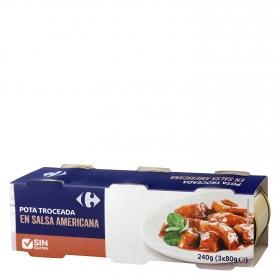 Pota troceada en salsa americana