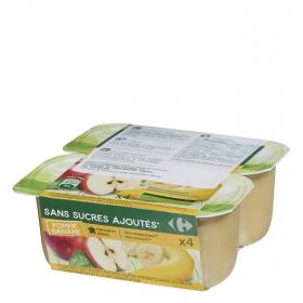 Compota de manzana y plátano sin azúcar añadido Carrefour pack de 4 unidades de 100 g.