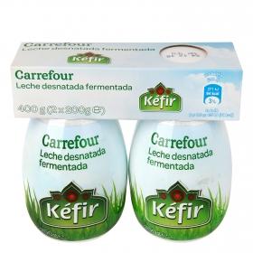 Kéfir desnatado Carrefour pack de 2 unidades de 200 g.
