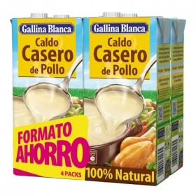 Caldo casero de pollo 100% Natural Gallina Blanca pack de 4 unidades 1 l.