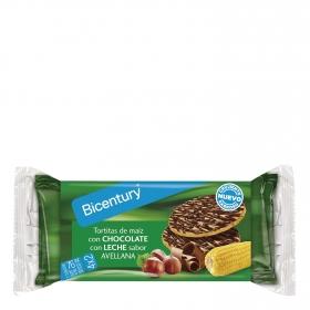 Tortitas de maíz  con chocolate y leche sabor avellana Bicentury 108 g.