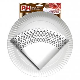 Set de 5 Rodales y Platos de Cartón P&H  diámetro 32 cm Blanco