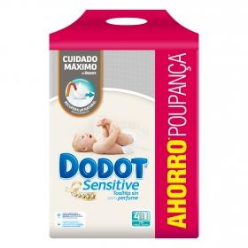 Toallitas para bebé Dodot Sensitive pack de 4 paquetes de 54 ud.