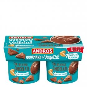 Postre vegetal de chocolate con leche de almendra Andros pack de 2 unidades de 120 g.