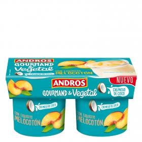 Preparado de coco cremoso con melocotón Andros pack de 2 unidades de 120 g.