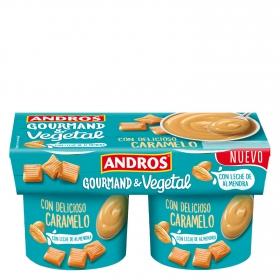 Postre vegetal de caramelo con leche de almendra Andros pack de 2 unidades de 120 g.