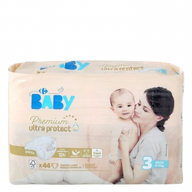 a0da89283741 Pañales Premium Ultra Protect Carrefour Baby T3 (4kg.-9kg.) 44 ud