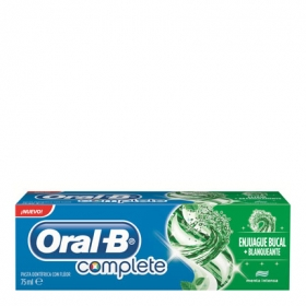 Dentífrico Complete con enjuague bucal + blanqueante Oral-B 75 ml.