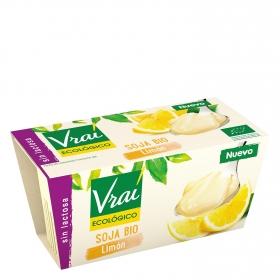 Preparado de soja sabor limón ecológico Vrai sin lactosa pack de 2 unidades de 100 g.