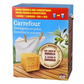 Detergente en polvo con jabón de Marsella Carrefour 50 cacitos
