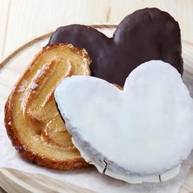 Lote palmeras mixtas hojaldre: chocolate, azucar y chocolate blanco Carrefour 6 ud.