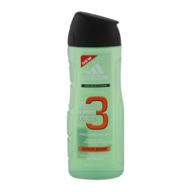 Gel de ducha Active Start para cuerpo, pelo y cara Adidas 400 ml.