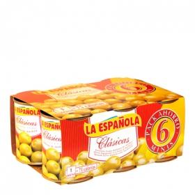 Aceitunas verdes rellenas de anchoa La Española pack de 6 latas de 50 g.