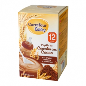 Papilla de cereales con cacao Carrefour Baby pack de 2 unidades de 600 g.