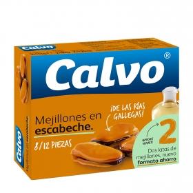 Mejillones de las rías gallegas en escabeche Calvo pack de 2 unidades de 69 g.