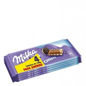 Chocolate con leche relleno de oreo Milka pack de 4 unidades de 100 g.
