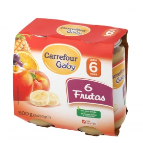 Tarrito de 6 frutas desde 6 meses Carrefour Baby sin gluten pack de 2 unidades de 250 g.