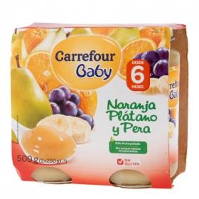 Tarrito de naranja, plátano y pera desde 6 meses Carrefour Baby sin gluten pack de 2 unidades de 250 g.
