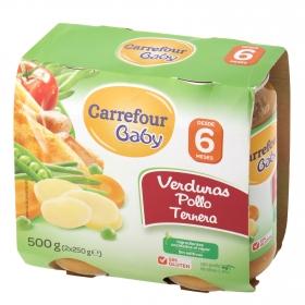 Tarrito de verduras pollo y ternera Carrefour Baby pack de 2 unidades de 250 g.