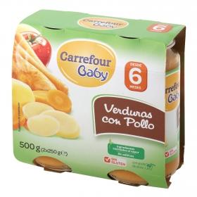 Tarrito de verduras con pollo Carrefour Baby pack de 2 unidades de 250 g.