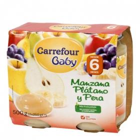 Tarrito de manzana, plátano y pera desde 6 meses Carrefour Baby sin gluten pack de 2 unidades de 250 g.
