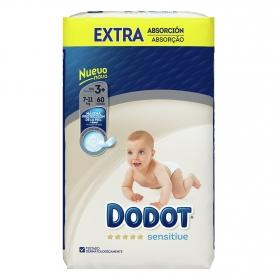 Pañales extra absorción T3 (7-11 kg.) Dodot Sensitive 60 ud.
