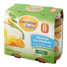 Tarrito de verduras con merluza desde 8 meses Carrefour Baby sin gluten pack de 2 unidades de 250 g.