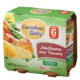 Tarrito de jardinera con ternera Carrefour Baby pack de 2 unidades de 250 g.