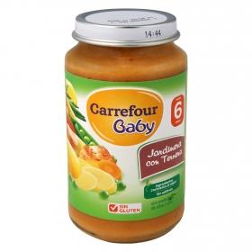 Tarrito de verduras jardinera con ternera desde 6 meses Carrefour Baby sin gluten 250 g.