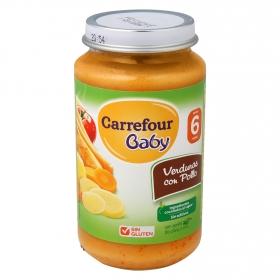 Tarrito de verduras con pollo desde 6 meses Carrefour Baby sin gluten 250 g.