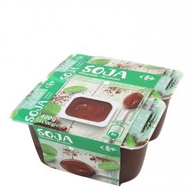 Postre de soja al cacao Carrefour pack de 4 unidades de 100 g.