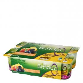 Yogur bífidus desnatado de frutas Carrefour pack de 8 unidades de 125 g.