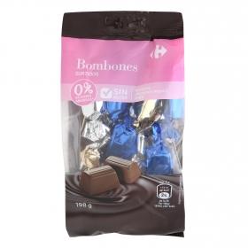 Bombones surtidos de chocolate negro, avellana y trufa sin azúcar añadido Carrefour sin gluten 198 g.