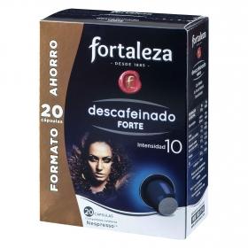 Café molido natural descafeinado en cápsulas Fortaleza compatible con Nespresso 20 unidades de 5,2 g.