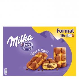 Bizcocho con pepitas de chocolate con leche y relleno de chocolate Milka 350 g.